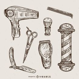 Barber illustrations set