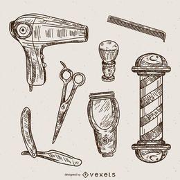 Conjunto de ilustrações de barbeiro