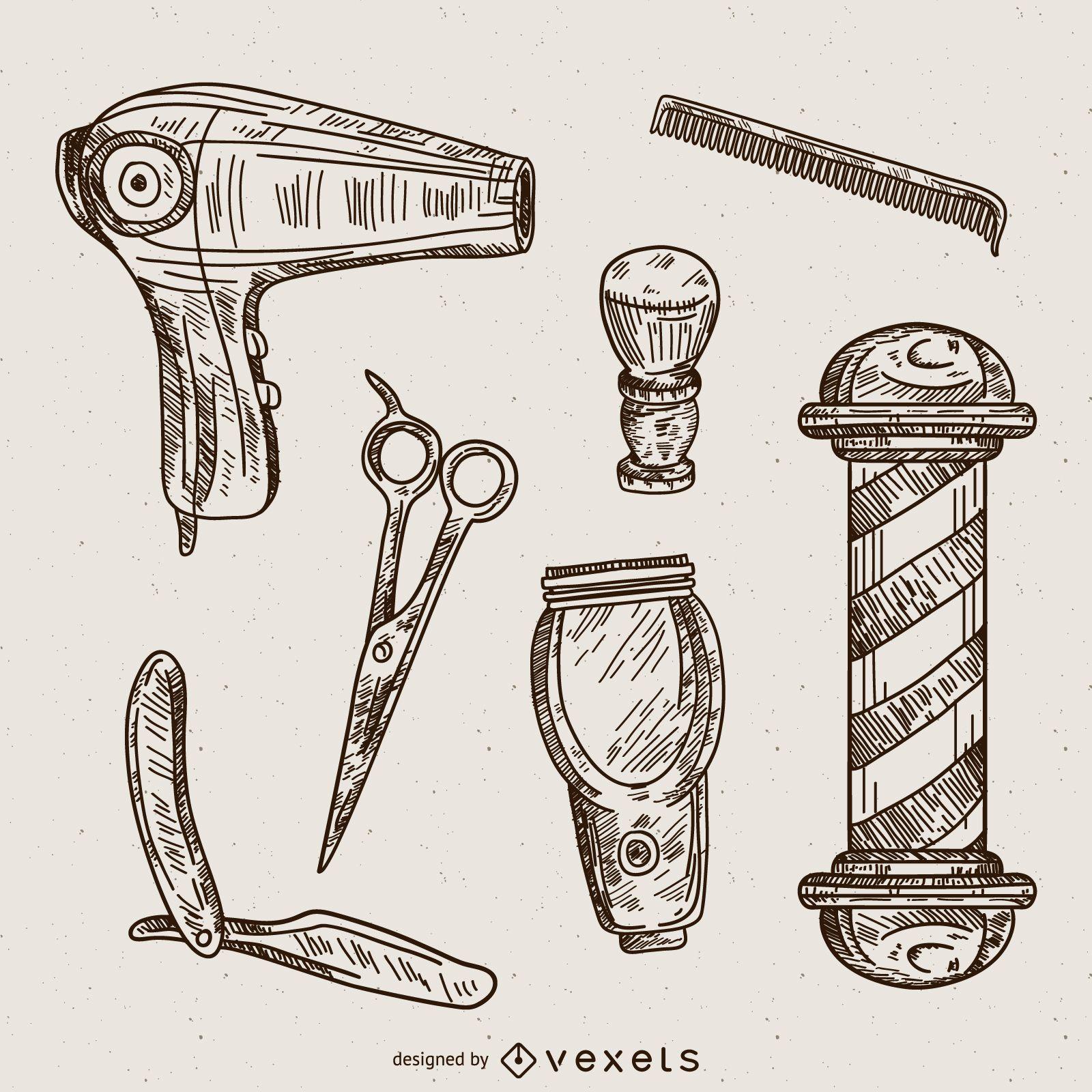 Barber illustrations set