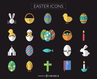 Flat and colorful Easter icon set