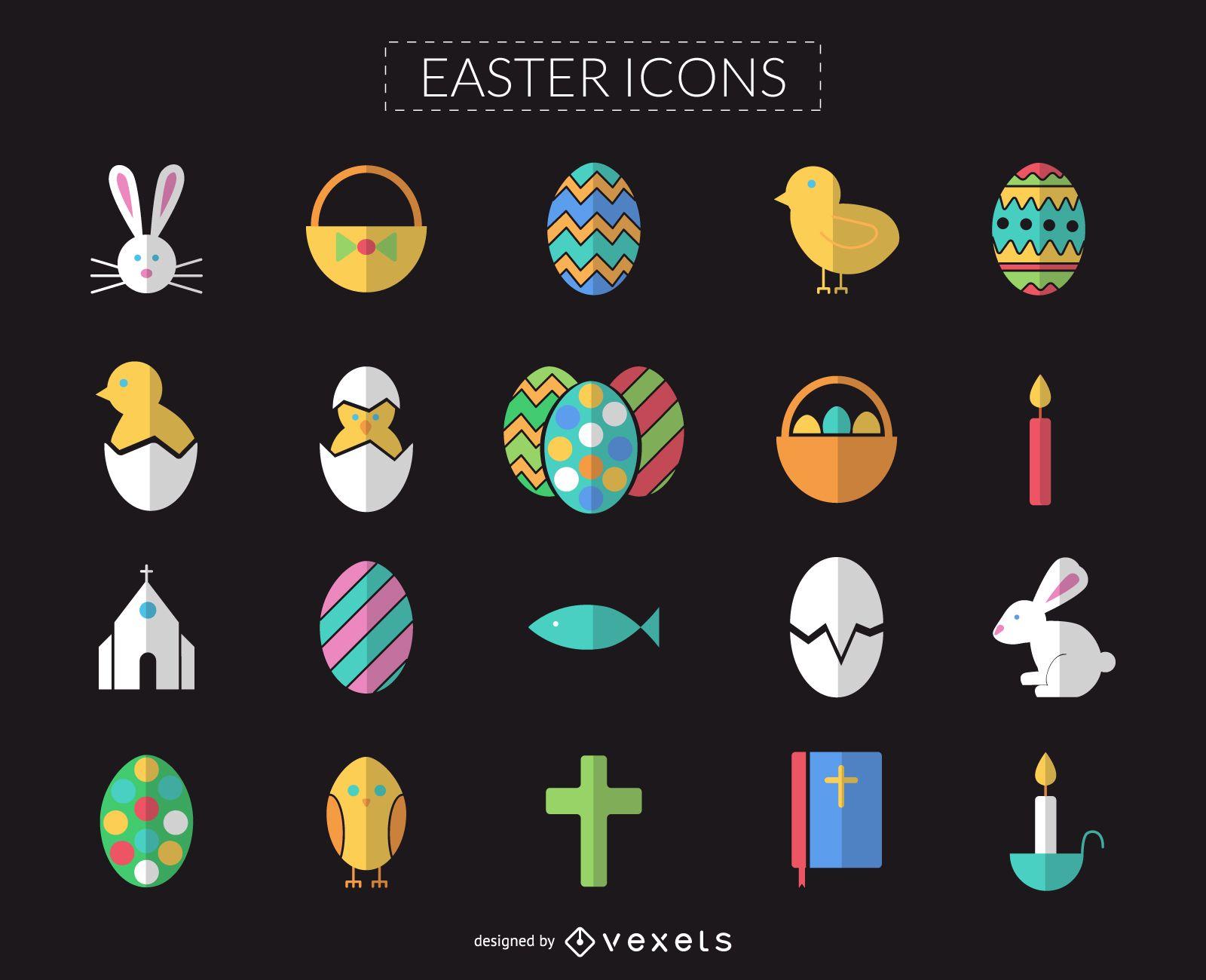 Conjunto de iconos de Pascua plana y colorida