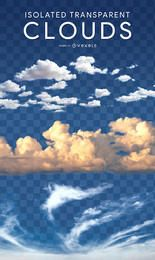 Realistische isolierte Wolken PSD