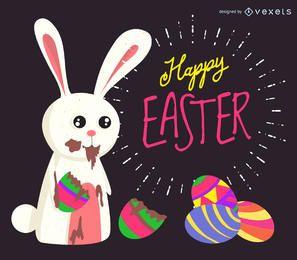 Easter bunny eating chocolate