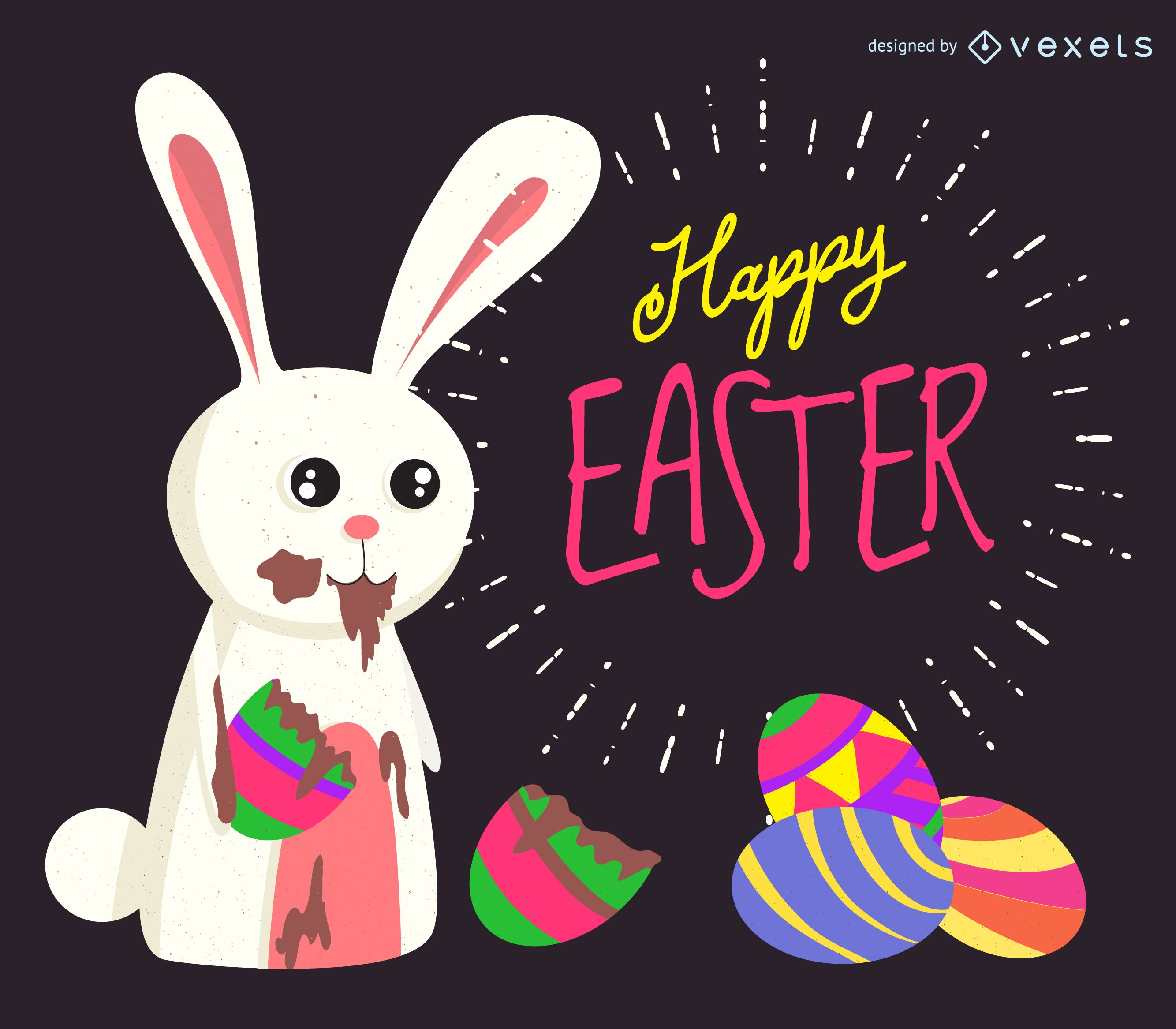 Conejito de Pascua comiendo chocolate