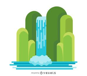 Ilustración de cascada plana