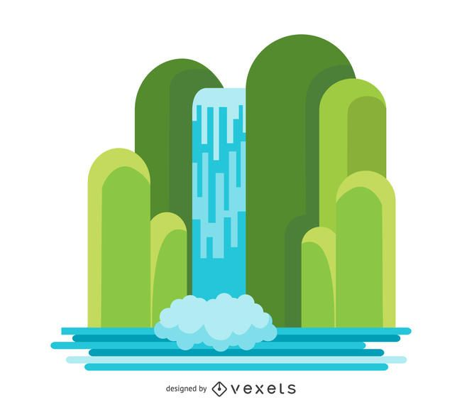 Flat waterfall illustration