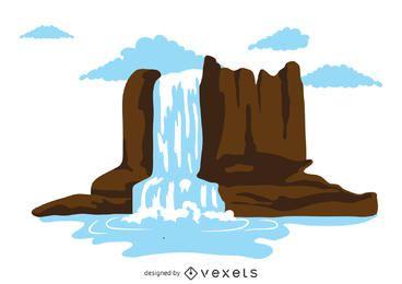 Ilustração cachoeira isolado
