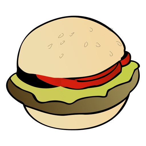 American burger cartoon Transparent PNG