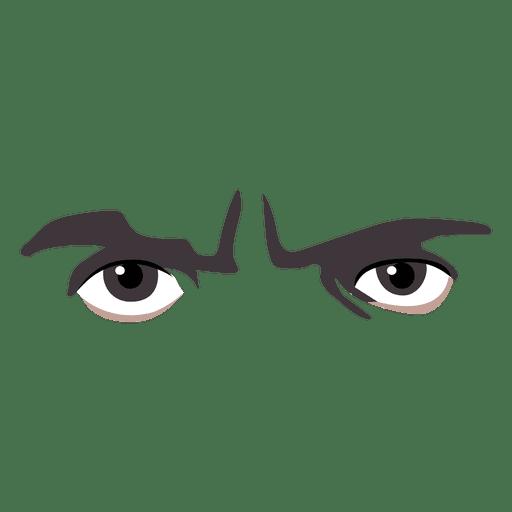 Expresión de ojos enojados