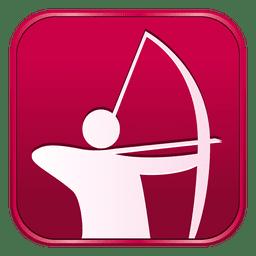 Ícone quadrado de arco e flecha