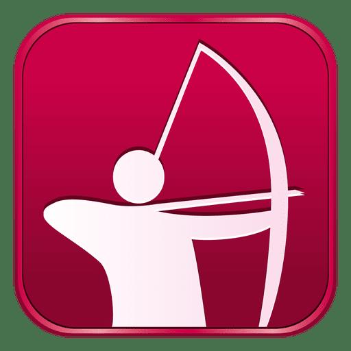 Ícone quadrado de arco e flecha Transparent PNG