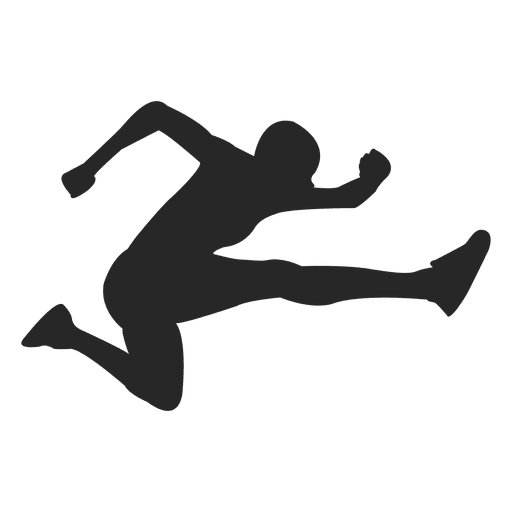 Atleta saltando silueta
