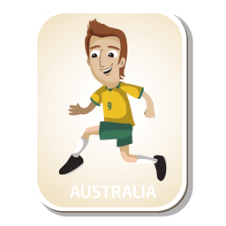 Dibujos animados de jugador de fútbol de Australia