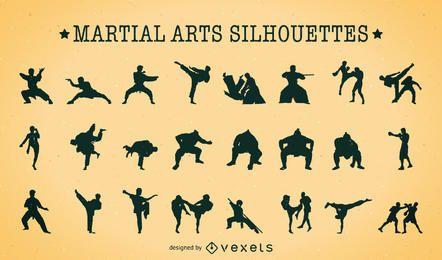 siluetas de artes marciales paquete