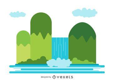 Ilustración de cascada plana y aislada