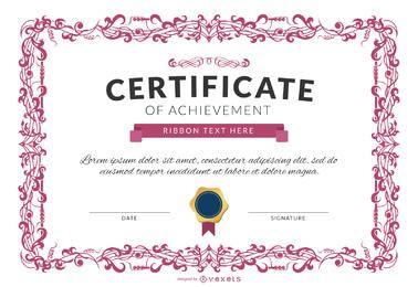 Certificado de maqueta de plantilla de logro en rosa
