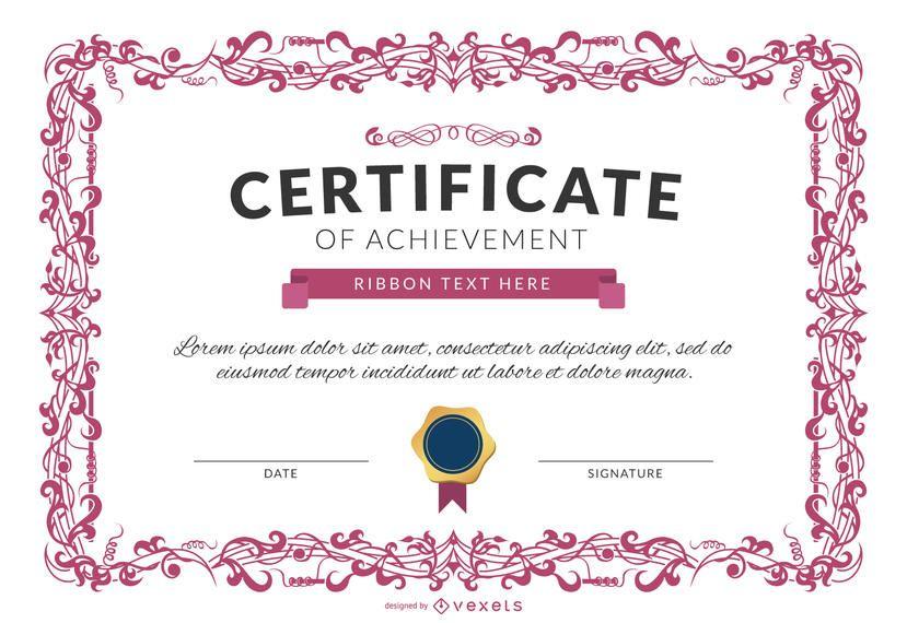 Certificado de logro plantilla maqueta en color rosa.