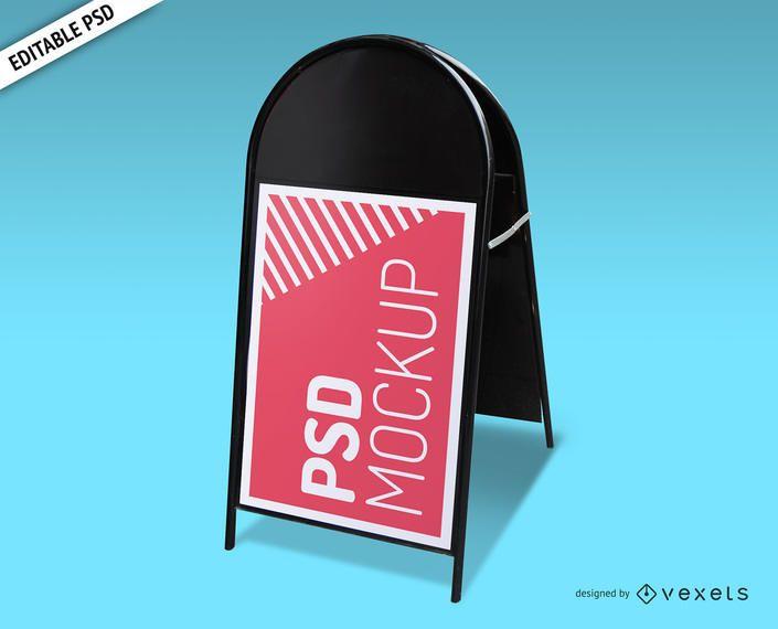 Folding sign PSD mockup