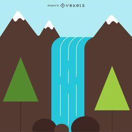 Ilustração simples cachoeira