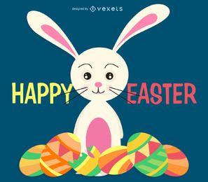 Ilustración de Pascua con un conejito y muchos huevos