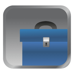 Blue briefcase square icon