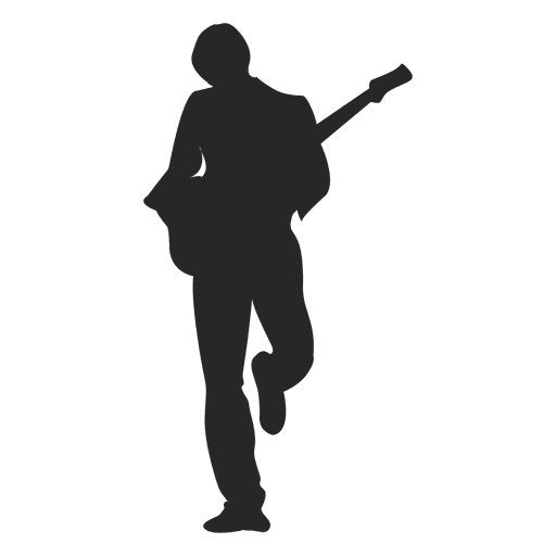 Silueta de guitarrista de niño Transparent PNG