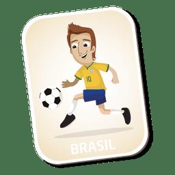 Dibujos animados de futbolista de Brasil