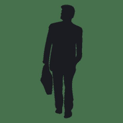 Homem negócios, carregar, pasta, silueta Transparent PNG