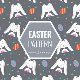 padrão de Easter com coelhos e ovos