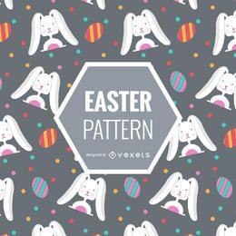 Patrón de Pascua con conejos y huevos