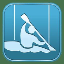Ícone quadrado de canoagem slalom