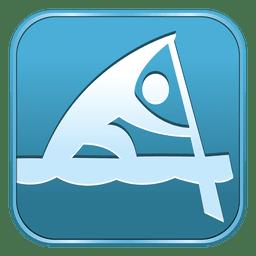 Icono de canoa sprint cuadrado