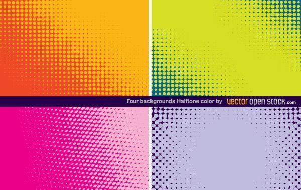 Quatro fundos em cores de meio-tom