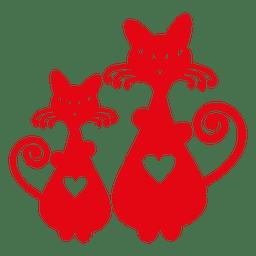 Silhueta de gatos com coração