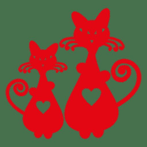Silueta de gatos con corazón Transparent PNG