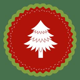 Árvore de Natal etiqueta redonda
