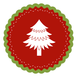 Christmas tree round label