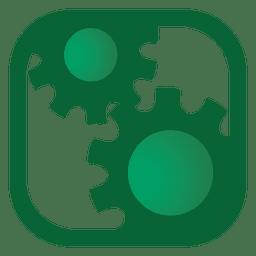 Botão quadrado de engrenagens