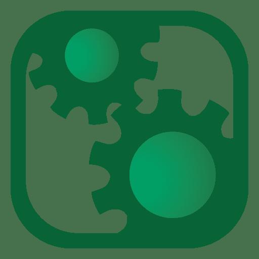 Botão quadrado de engrenagens Transparent PNG