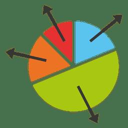 gráfico de pizza seta colorido