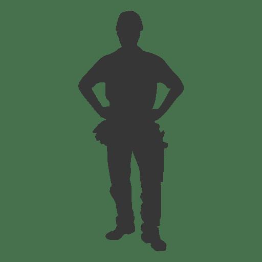 Trabajador de la construcción las manos en las caderas Transparent PNG