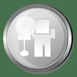Botón redondo de metal con logo de Digg.
