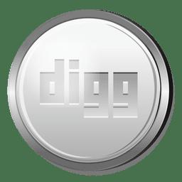 Icono de círculo de plata de Digg