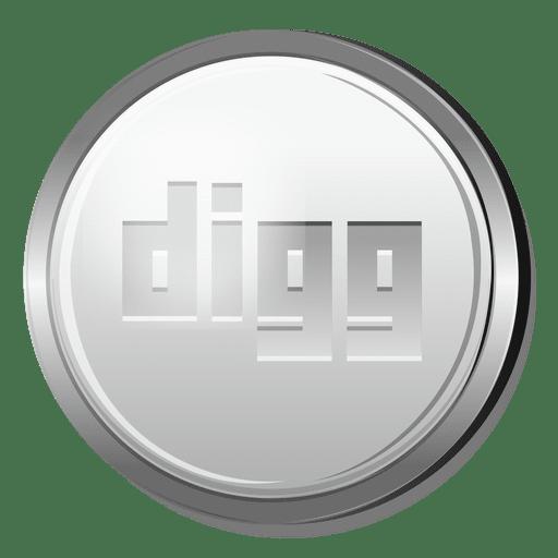 Digg silver circle icon Transparent PNG