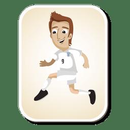 Dibujos animados de jugador de fútbol de Inglaterra