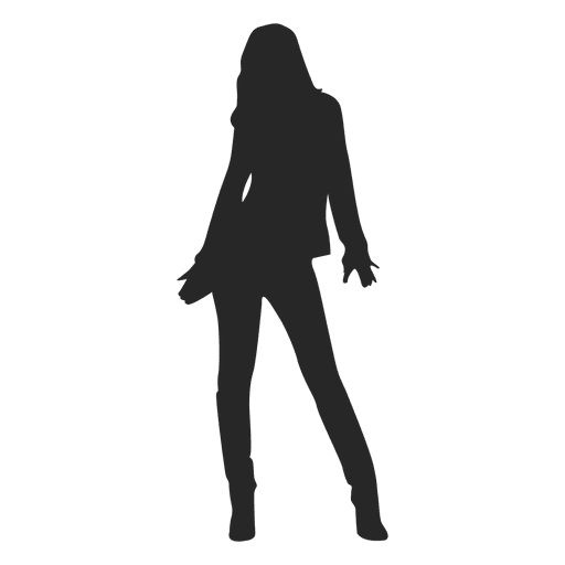 Fashion girl posing gray silhouette Transparent PNG