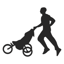 Padre que empuja el carro de bebé