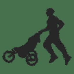 Pai que empurra o carro de bebê