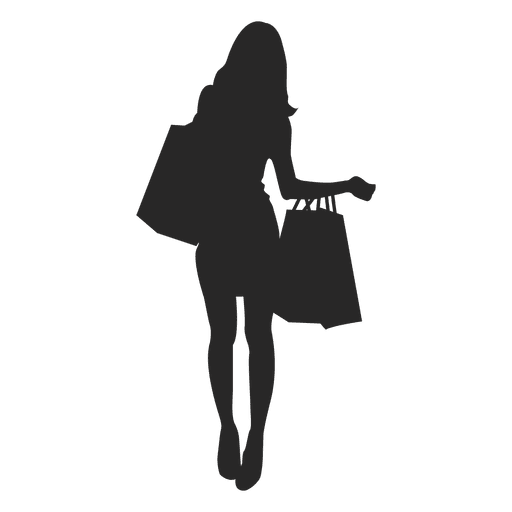 Girls with shopping bags silhouettes - Vector download