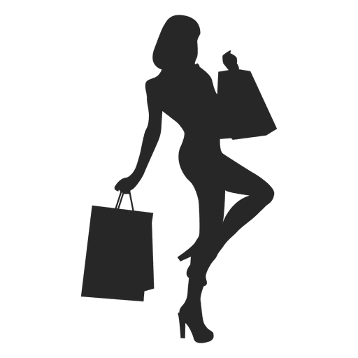 Female shopping silhouette gray Transparent PNG